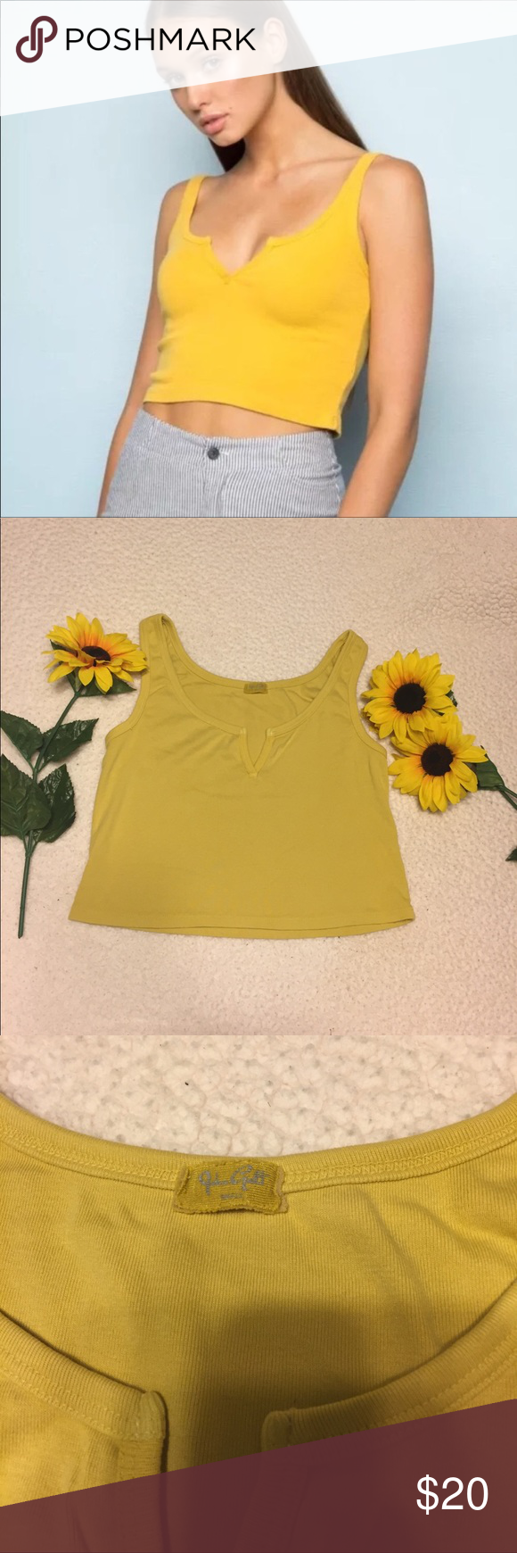 4d0e6fecc2192 Brandy Melville Trisha Tank top NWOT never worn. No flaws One size(XS-M)  Mustard yellow color Soft cotton material V-cut on front Crop fit Brandy  Melville ...
