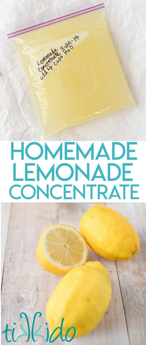 Homemade Lemonade Concentrate Recipe to Freeze for Summer #frozenlemonade