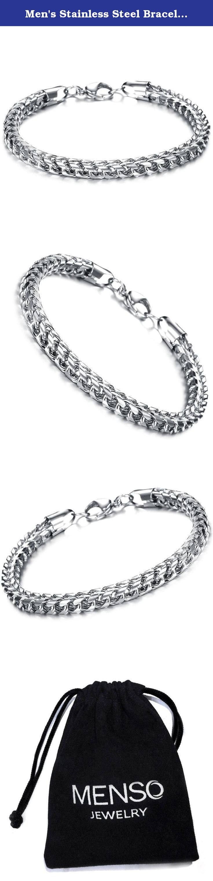 Men's Stainless Steel Bracelet Link Wrist Polished Biker Fashion Classic Silver. MENSO - High quality Jewelry Discover the MENSO Collection of jewelry. The selection of high-quality jewelry featured in the MENSO Collection offers Great values at affordable Price, they mainly made of high quality Stainless Steel, Tungsten, Silver and Leather. We uphold the highest standard of integrity,professionalism and customer service. In addition to unique designs,unbeatable prices and a full refund...