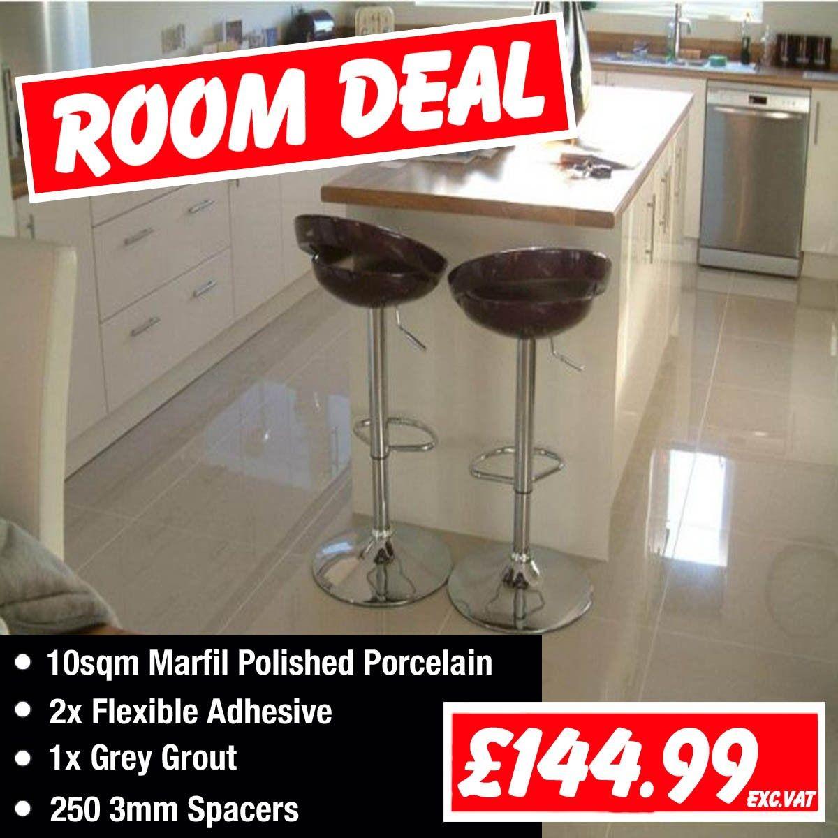 Marfil Polished Porcelain ROOM DEAL! Includes 10sqm of floor tile ...