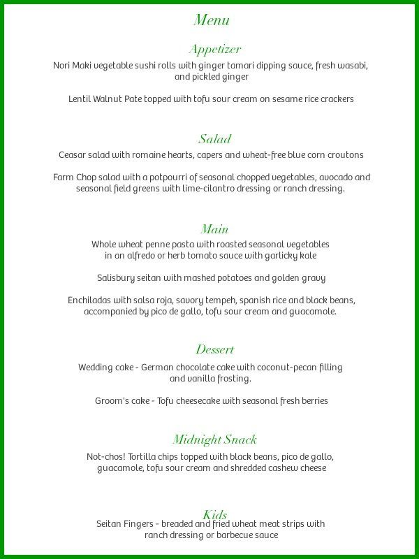 Real Food Daily catering - sample wedding menu :) | Vegan Delight ...