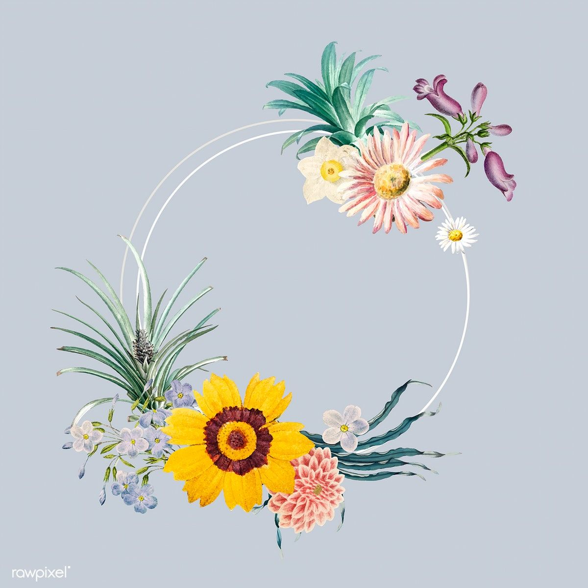 Frame decorated with flowers vector free image by