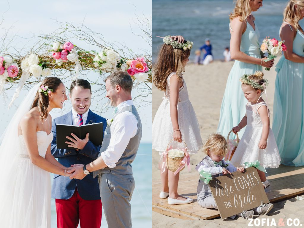 Monique Lhuillier Gown, Beach Ceremony, Flowers on Chestnut, Flower Crowns, #Nantucket wedding photography, Zofia & Co. Photography