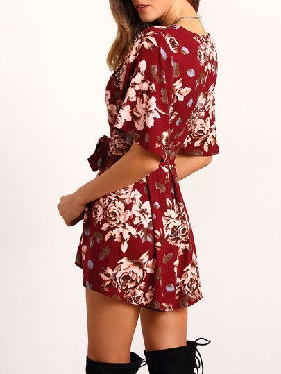 c2d0fef3dce Red Floral Waist Tie Romper. Fabric  Fabric has no stretch Season  Summer  Pattern