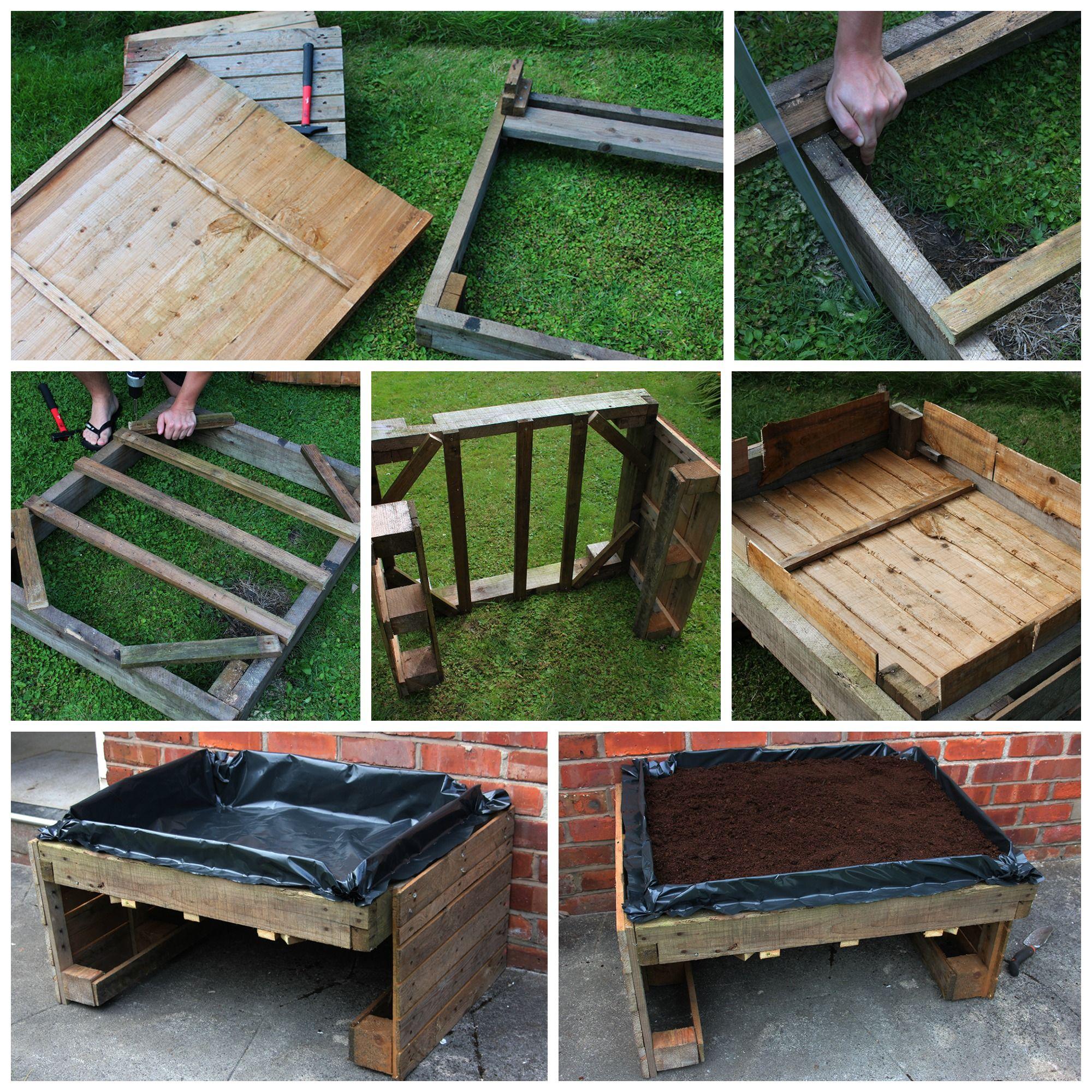 potager sur lev fabriqu avec des palettes en bois jardin pinterest. Black Bedroom Furniture Sets. Home Design Ideas