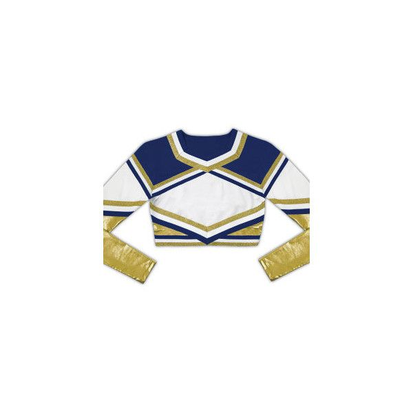 Chassé Performance™: Medalist Cropped Metallic Stretch Cheer Uniform... ❤ liked on Polyvore featuring activewear, cheer, cheerleading, cheer tops, school, tops and chassè