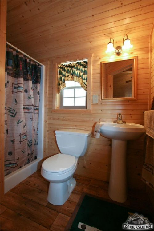 Small Bathrooms, Cabin Fever, Cabin Ideas, Log Cabins, House Projects,  Ranch, Bathroom Ideas, Knotty Pine, Washroom