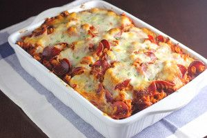 Need a quick meal for dinner? Try this awesome Pizza Pasta Bake with all the elements of a delicious pizza! This is a winner for any family!
