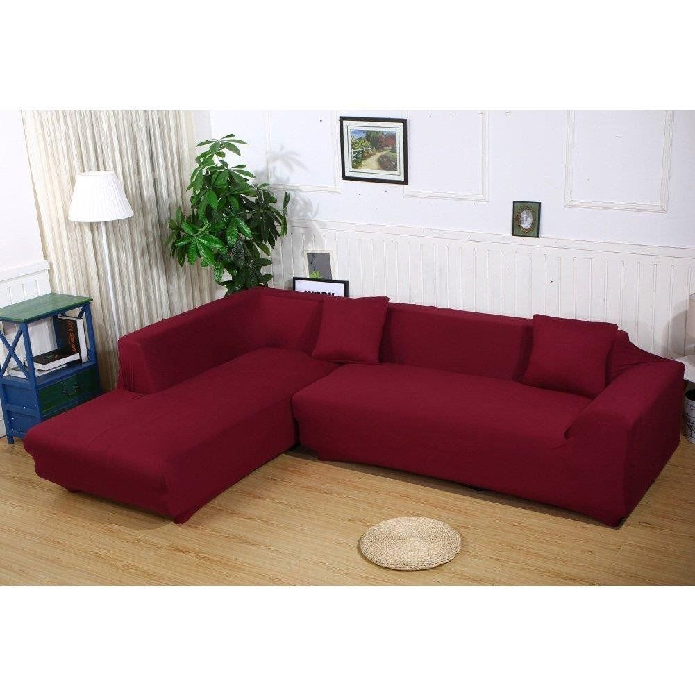 Womaco L Shape Sofa Covers Sectional Sofa Cover 2 Pcs Stretch Sofa