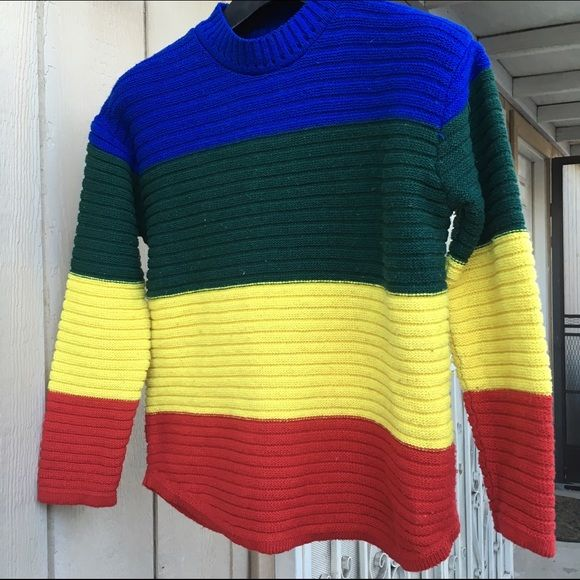SUPER COOL CRAYOLA STYLE COLORFUL SWEATER SZ SMALL As seen Sweaters