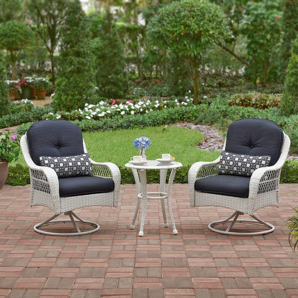 White Wicker Patio Furniture 3 Piece Bistro Set 2 Chairs Table Outdoor Garden Pc Betterhomesgardens Outdoor Furniture Sets Outdoor Bistro Set Bistro Set