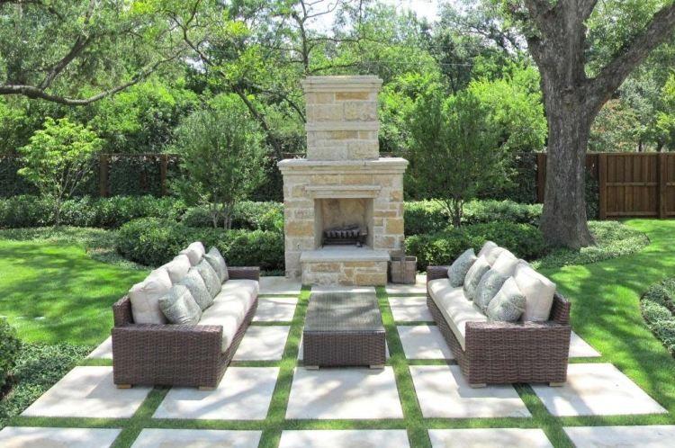 Weiße Betonplatten Und Breite RasenFugen Terassen Pinterest - Billige betonplatten