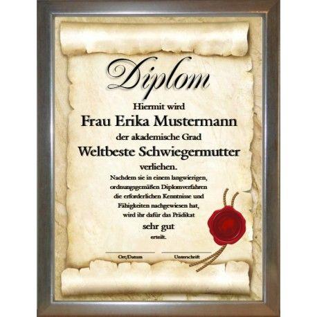 Diplom Weltbeste Schwiegermutter Schwiegertochter Schwiegermutter Schwiegersohn