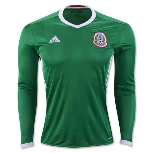 f44931695bf adidas Men s Mexico 16 17 Long Sleeve Home Jersey Green Red White ...