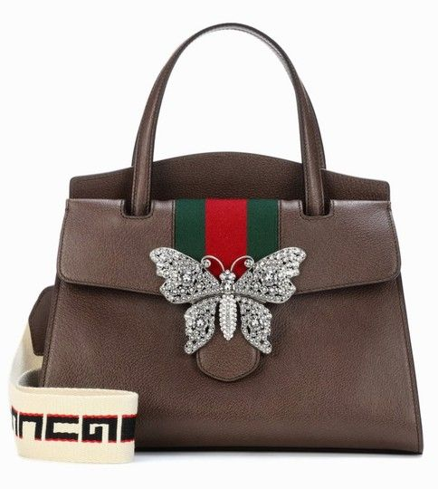 cf3934ceabc9 Gucci Linea Medium Totem Butterfly Clasp Brown Convertible Calfskin Leather  Satchel - Tradesy