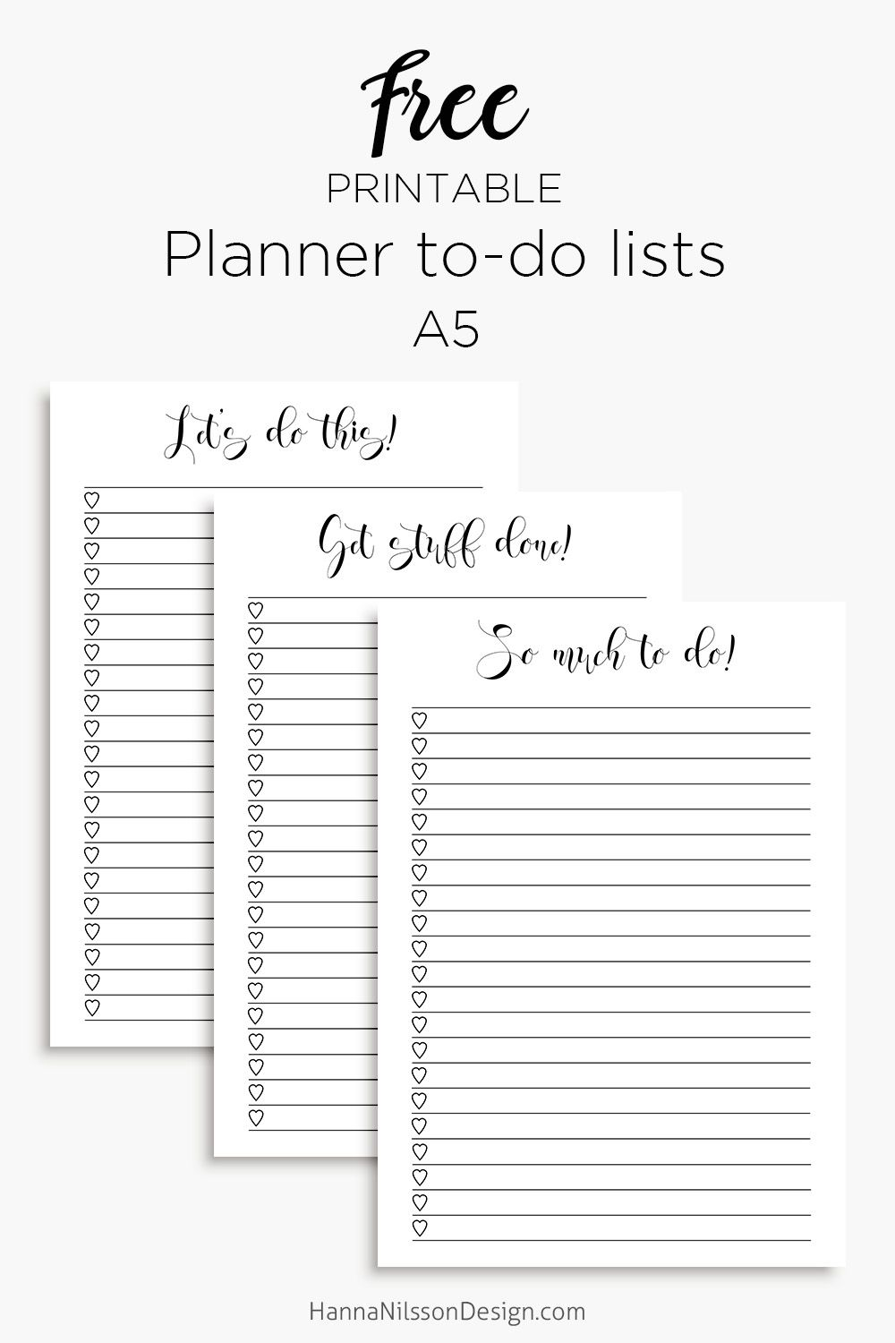 Planner inserts - to-do lists for A5 planners, printable free ...