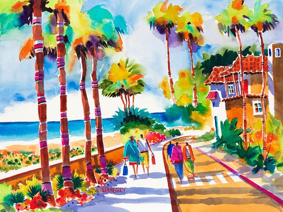 Palm Tree Painting Beach Painting Colorful Art Tropical Art