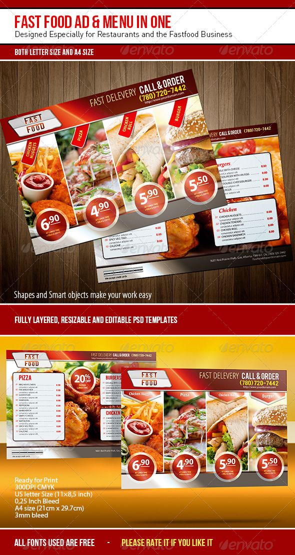 Fast Food Ad  Menu In One  Letter Templates Menu And Flyer Template