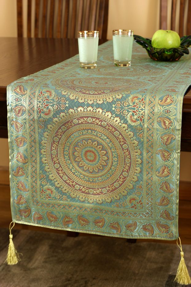 Exotic Golden Jade Green Indian #table Runner Design. Gorgeous Table  Decoration For Your Home
