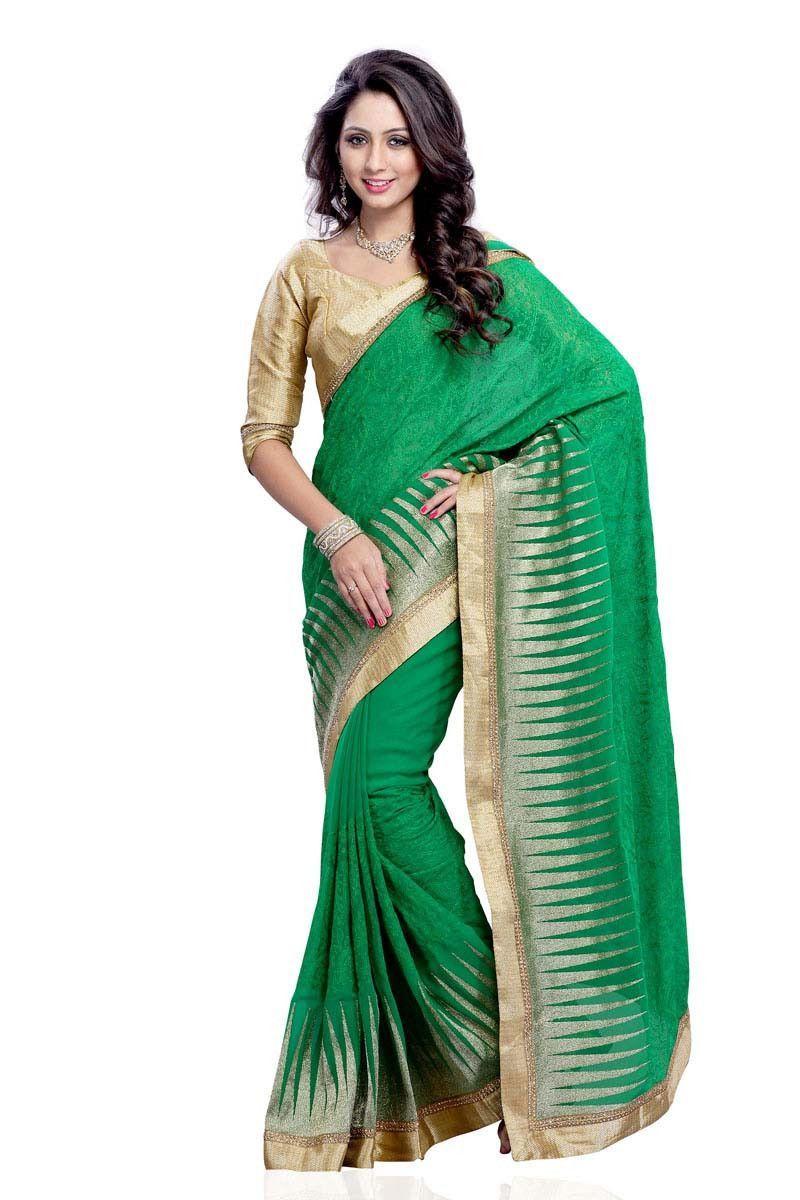9ab3dcc1bccc8 Green Georgette Latest Designer Saree Diwali Dresses