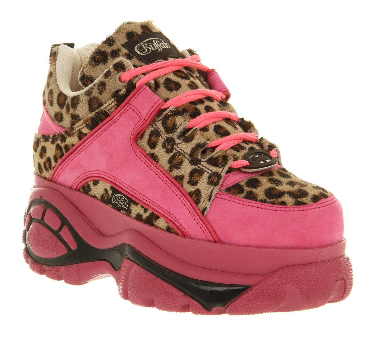 Womens Buffalo Platform Lace Up Pink Pony Flats Shoes Things I