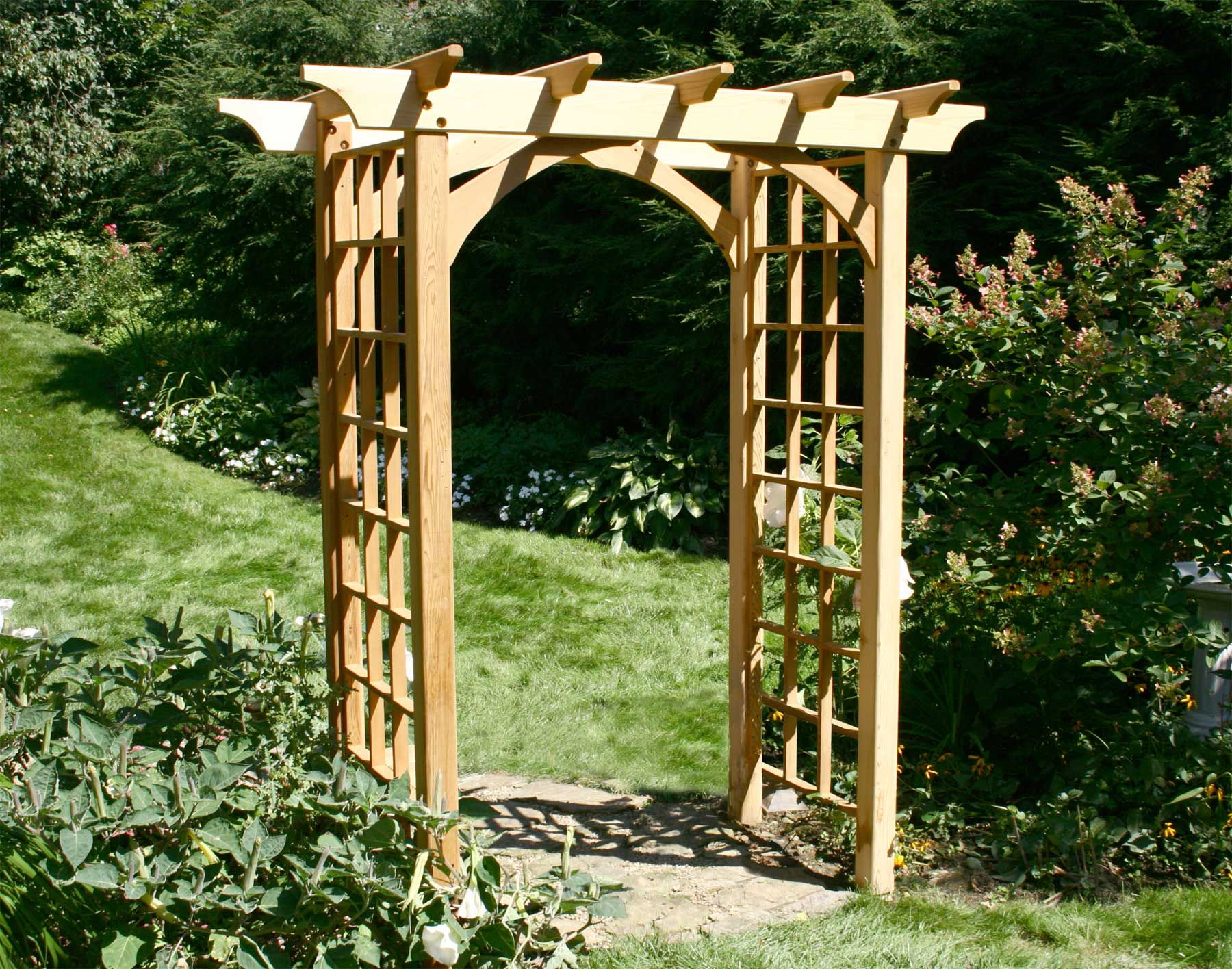Red Cedar Canterbury Arbor With Images Garden Archway