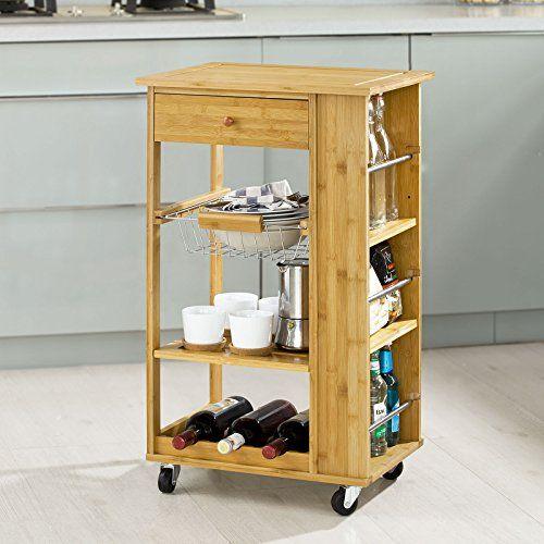 SoBuy® Servierwagen, Küchenwagen, Rollwagen m Schublade, Bambus - küchenwagen mit schubladen