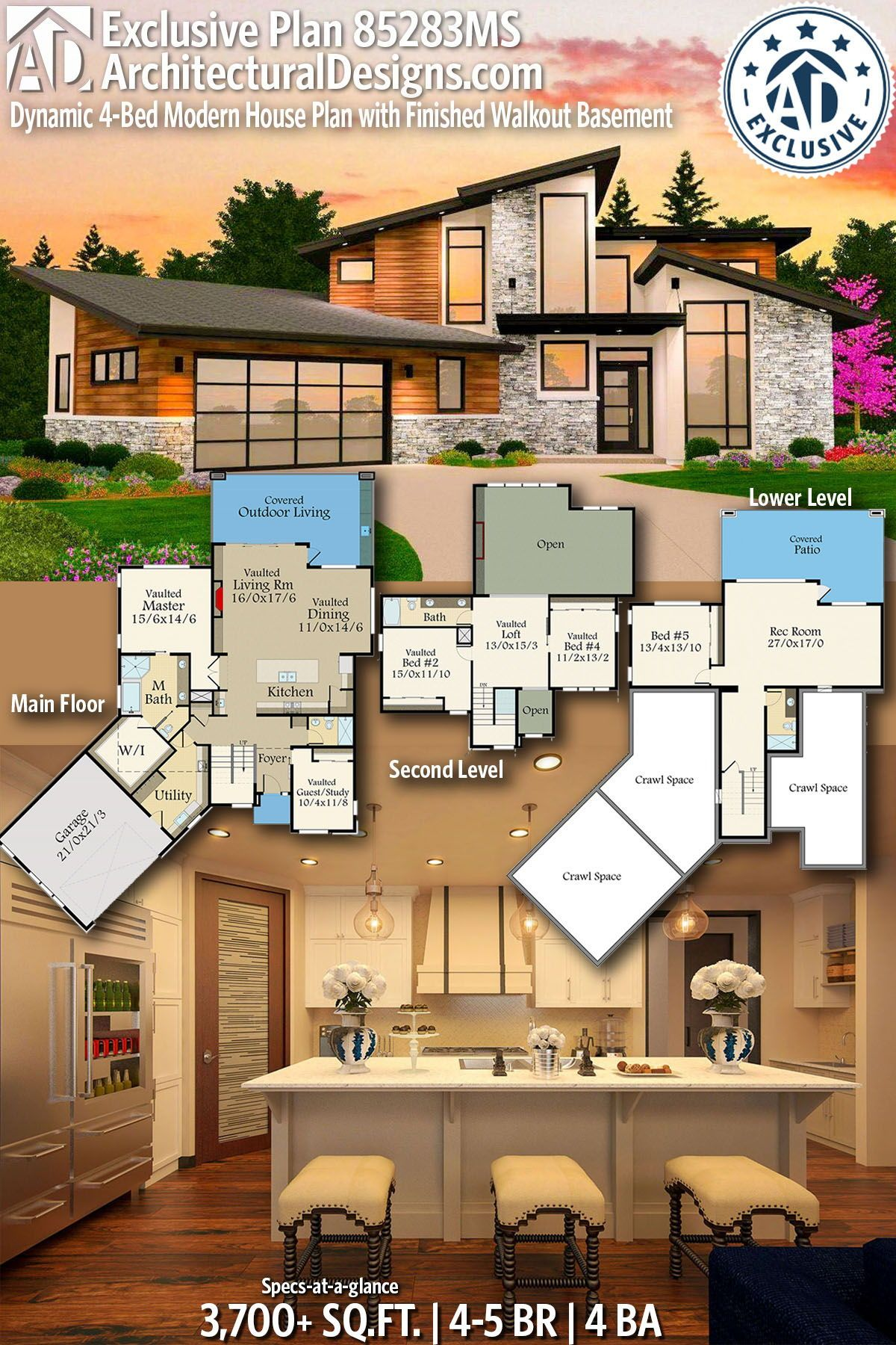 Plan 85283MS: Dynamic 4-Bed Modern House Plan With