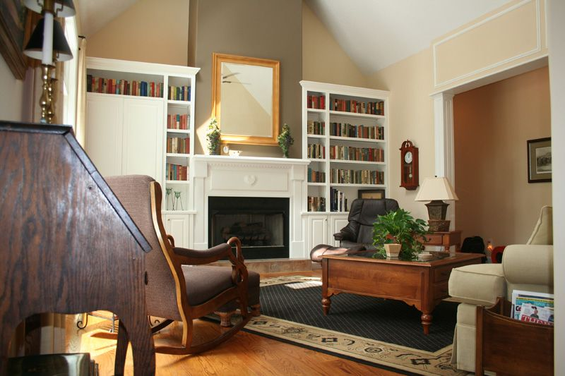 Example of built-ins in vaulted ceiling that don't go all ...