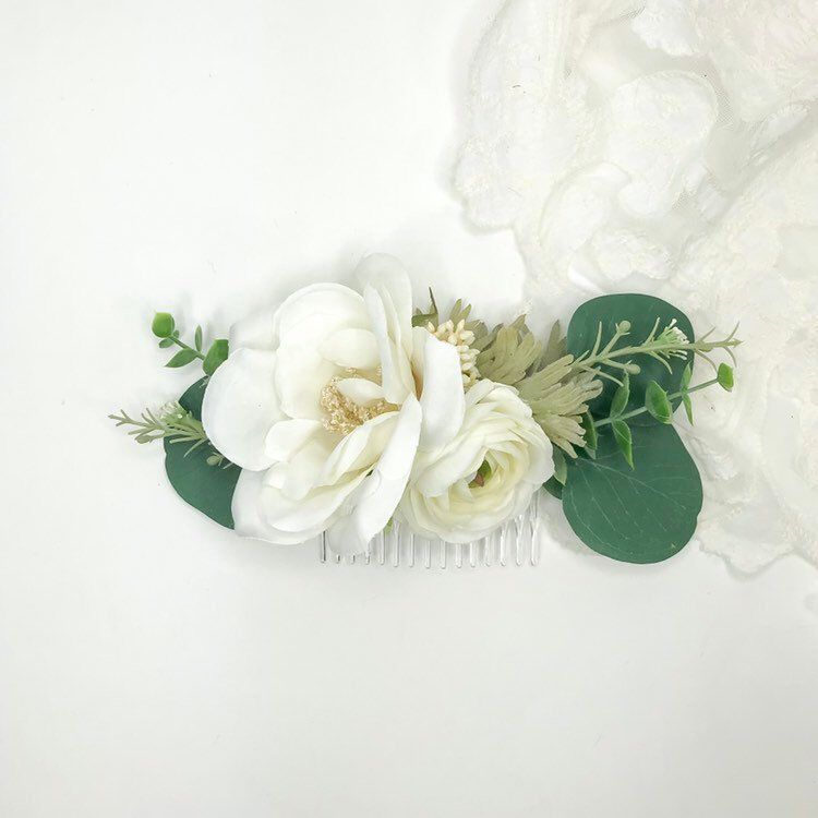 Excited To Share This Item From My Etsy Shop Eucalyptus Garden Comb White Faux Flower Comb Silver Tropical Wedding Flowers White Flower Combs Flower Comb