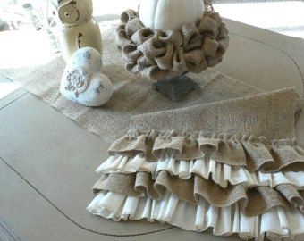 Attractive Cottage Chic Burlap Table Runner With Ruffles