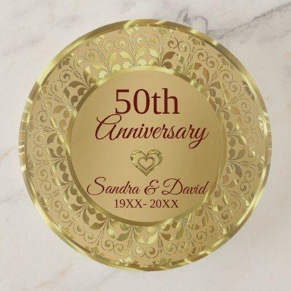Sparkling Gold Damask- 50th Wedding Anniversary Trinket Trays ...