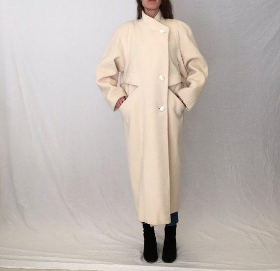 Avant garde 80s coat/cream wool coat women M by MadCrushVintage ...