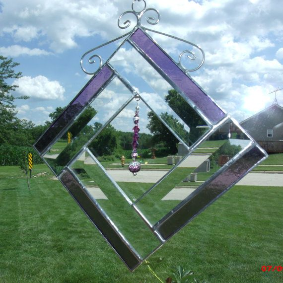 Purple stained glass sun catcher with bevels and Swarovski crystal bling