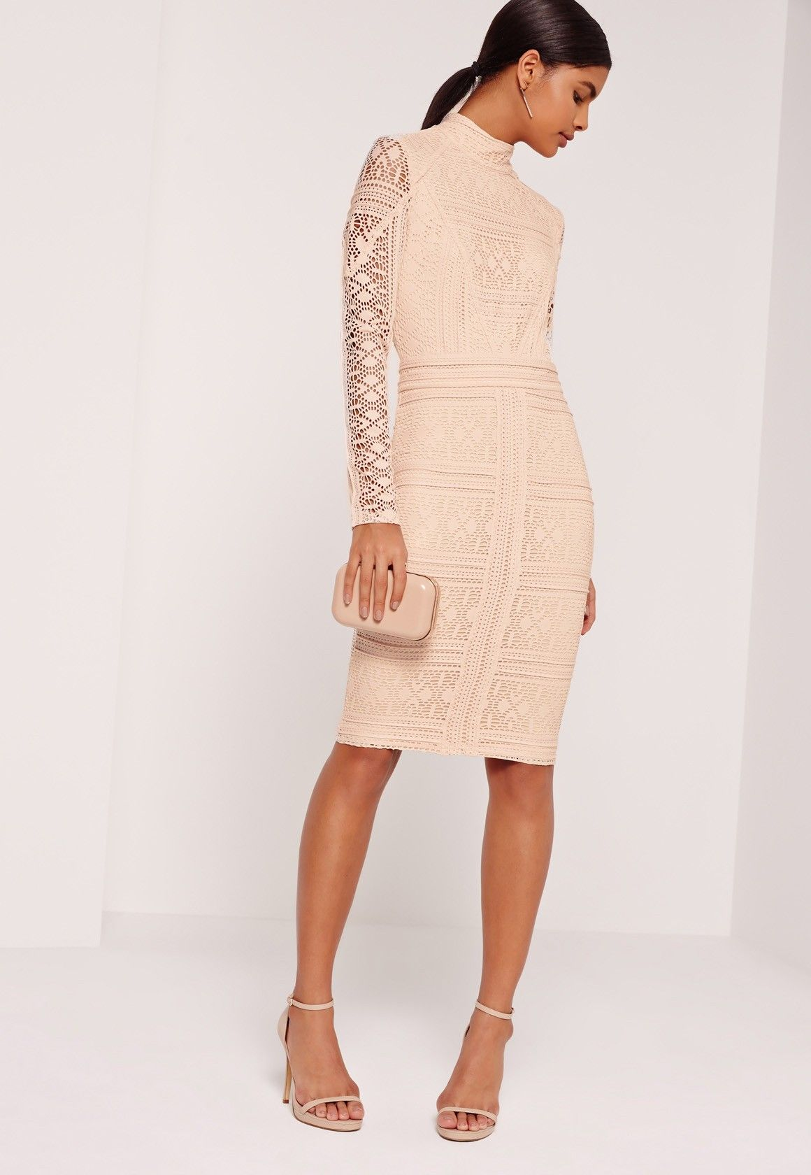 5b6cd41a0384b Missguided - Lace Long Sleeve High Neck Midi Dress Nude | wedding ...