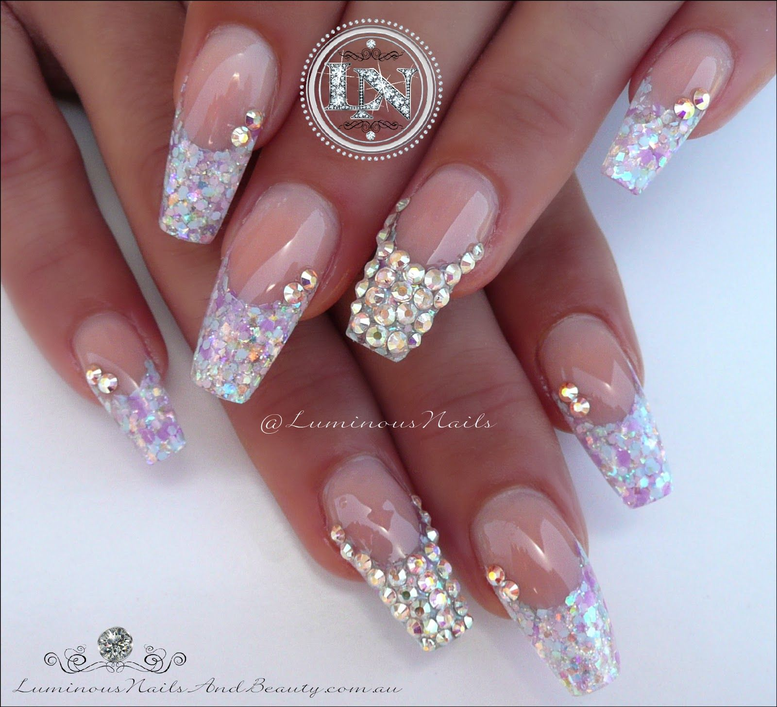 Candy Coated Nails With Bling! Sculptured Acrylic With