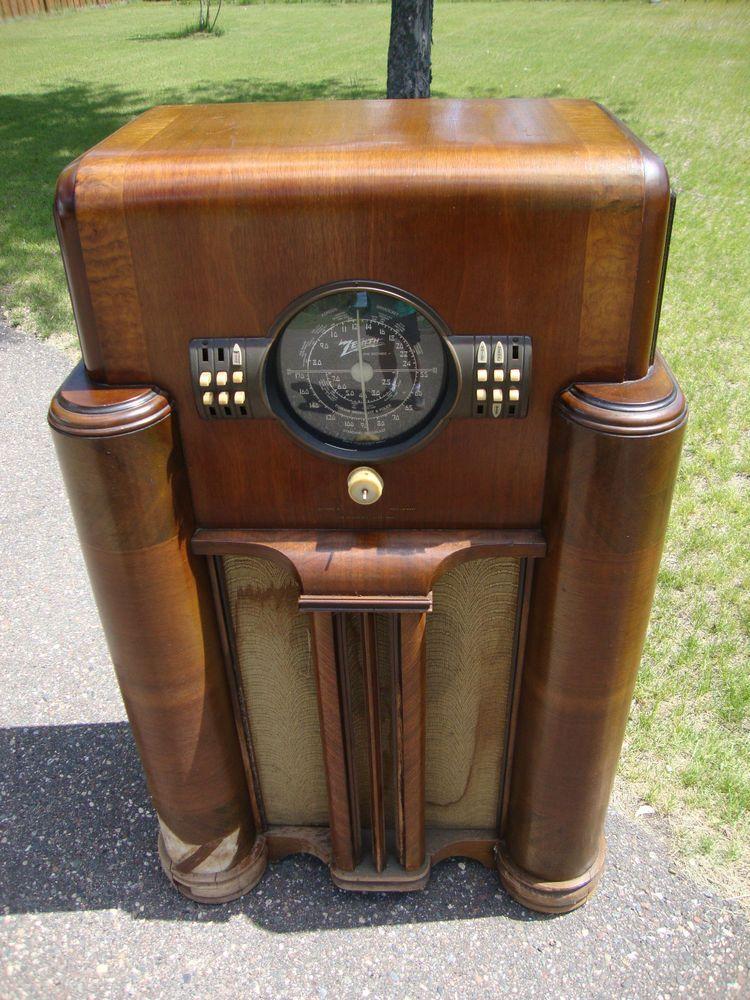 Zenith Floor Console Radio 1938 Parts Or Restore Antique Radio Retro Radios Vintage Radio Cabinet