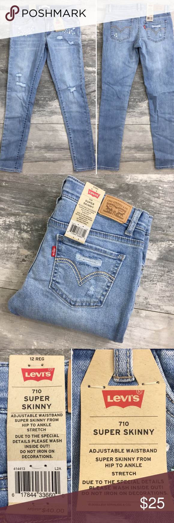 0c2ae43b25a LEVIS 710 Super Skinny Distressed Blue Jeans 12 NWT Girls Levi's brand 710 Super  Skinny distressed