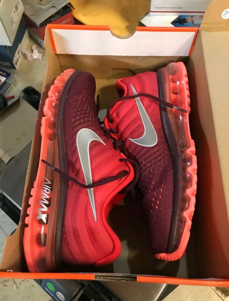 Nike Air Max 2017 Running Shoes Maroon White Red Black