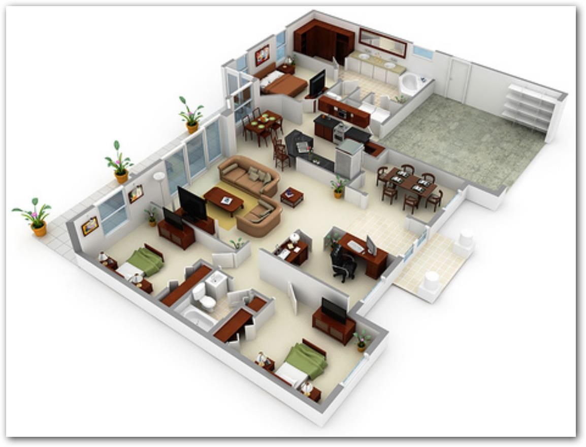 House view 1 house floor layout and apartment floor plans for Planos de casas de 3 recamaras