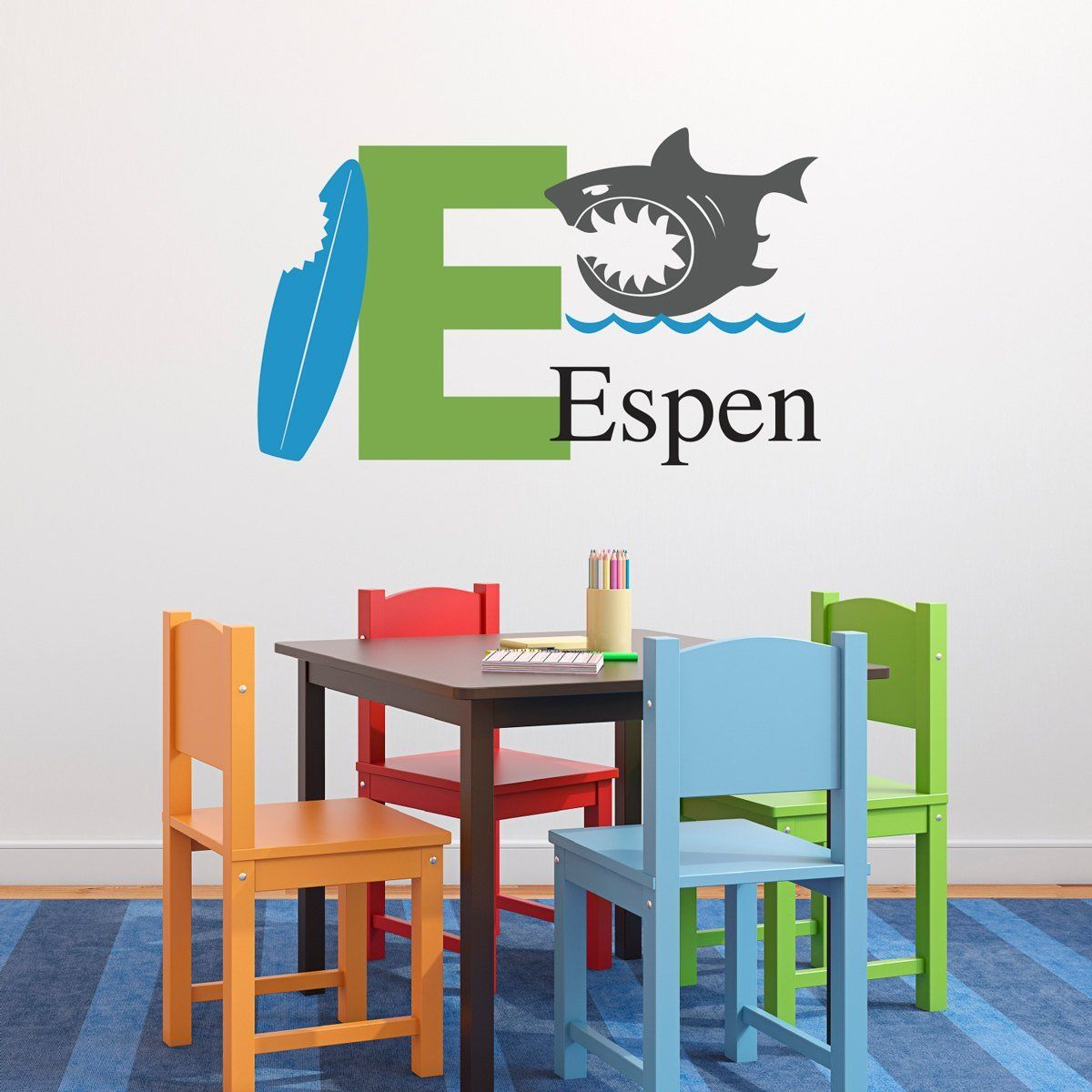 Personalized shark wall decal set initial name wall decal boy