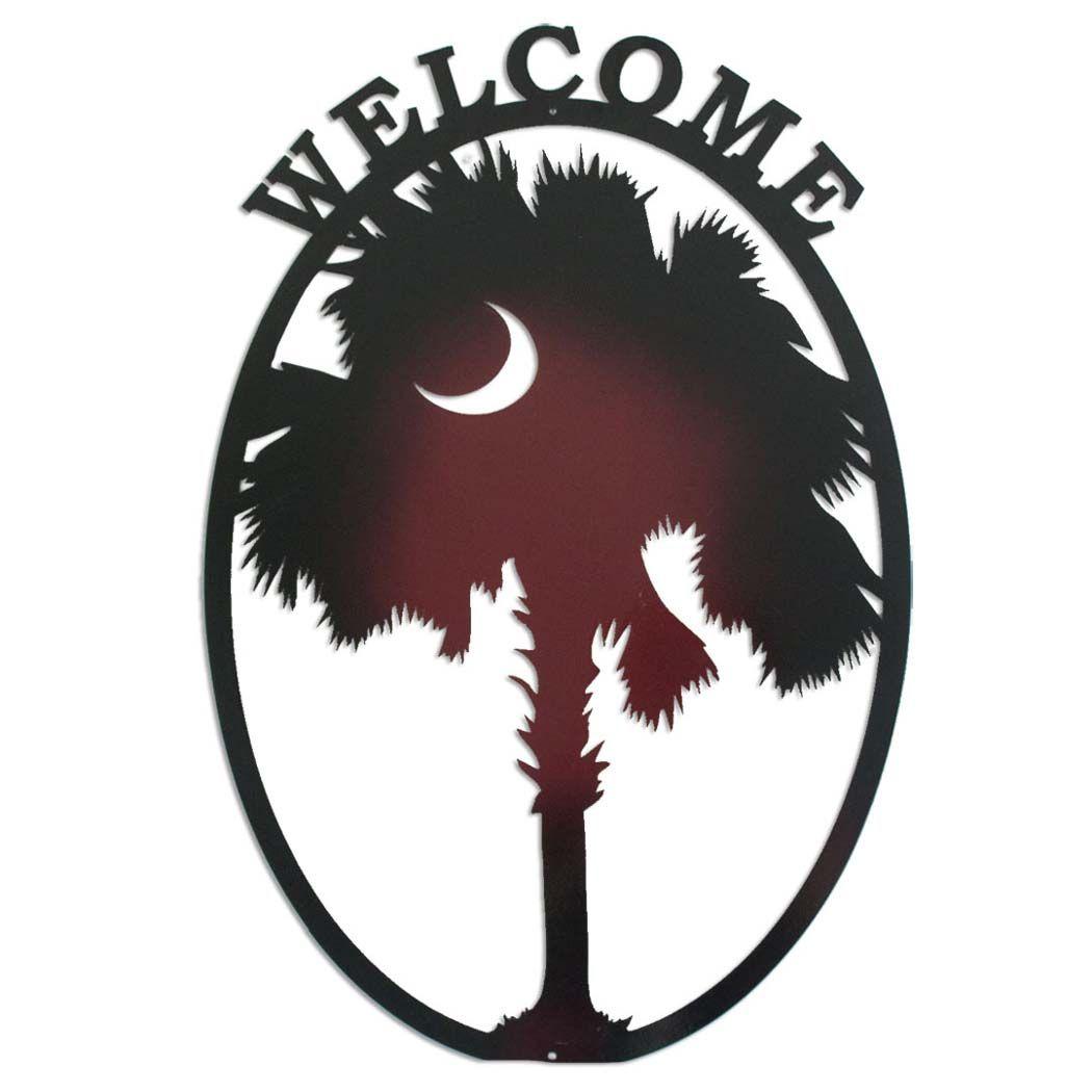 "South Carolina Home Decor South Carolina Art Columbia Sc: South Carolina Gamecock Oval Palmetto ""Welcome"" Metal Wall"