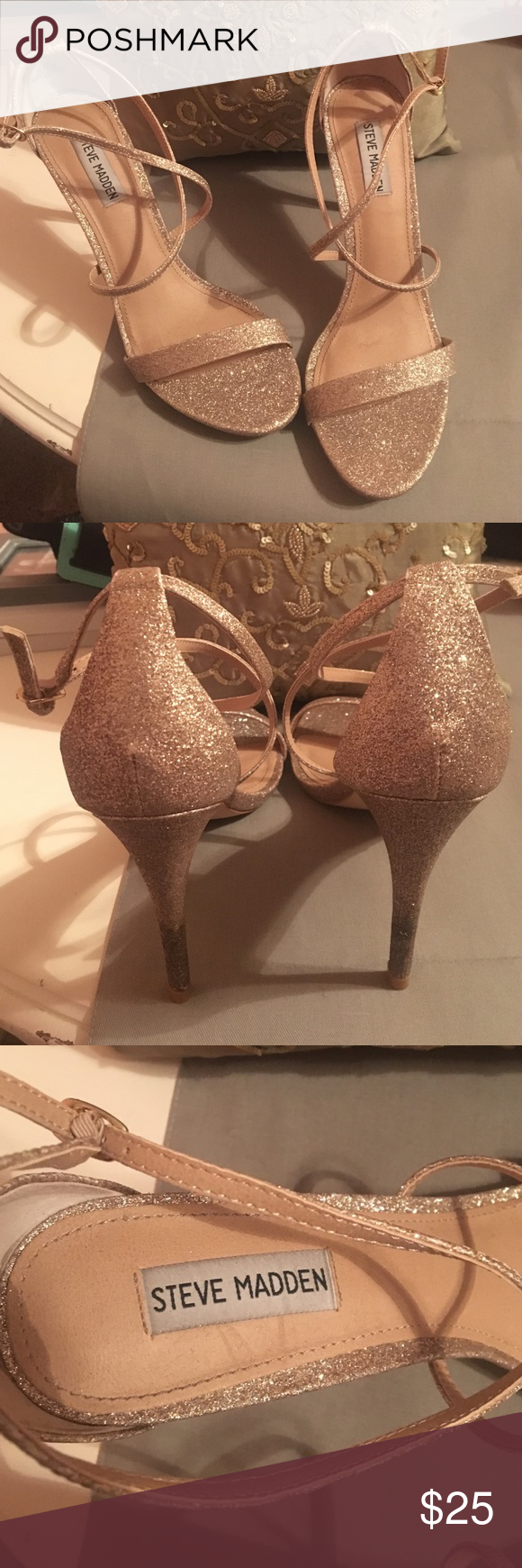 Glittery Steven Madden heels Used only once for a wedding. Is in mint condition and has a little bit of dirt at the end of the heel on both shoes. Steve Madden Shoes Heels