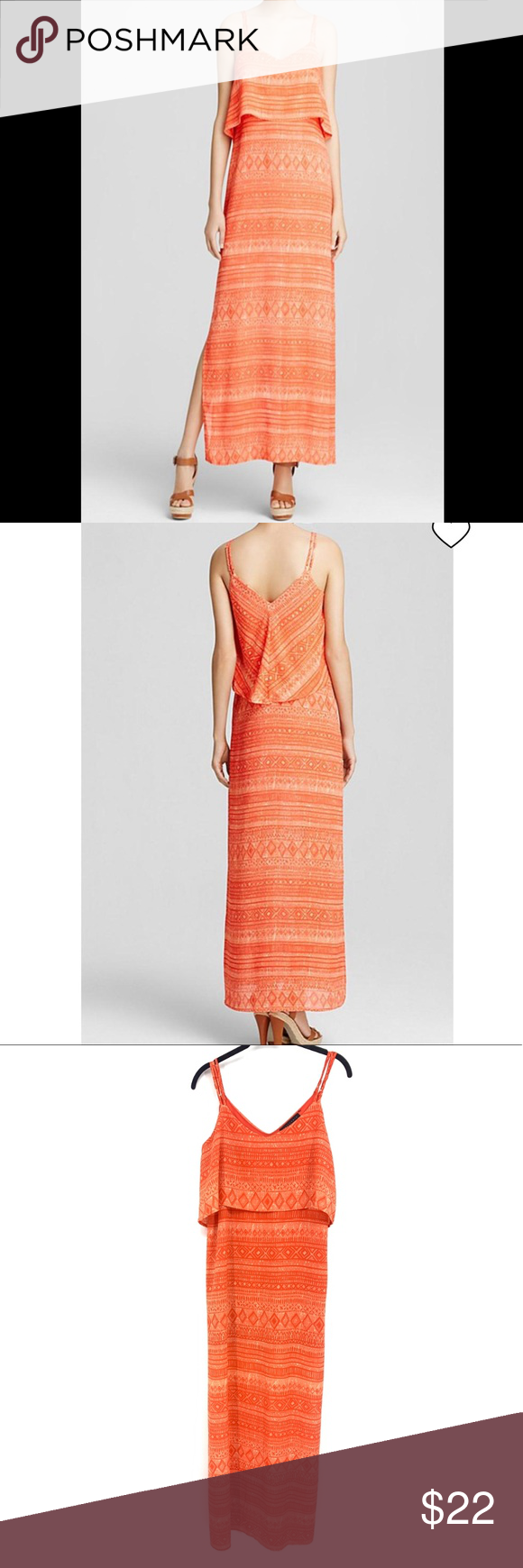 Sanctuary Orange Print Maxi Dress Geometric print maxi dress featuring a tiered ... 3