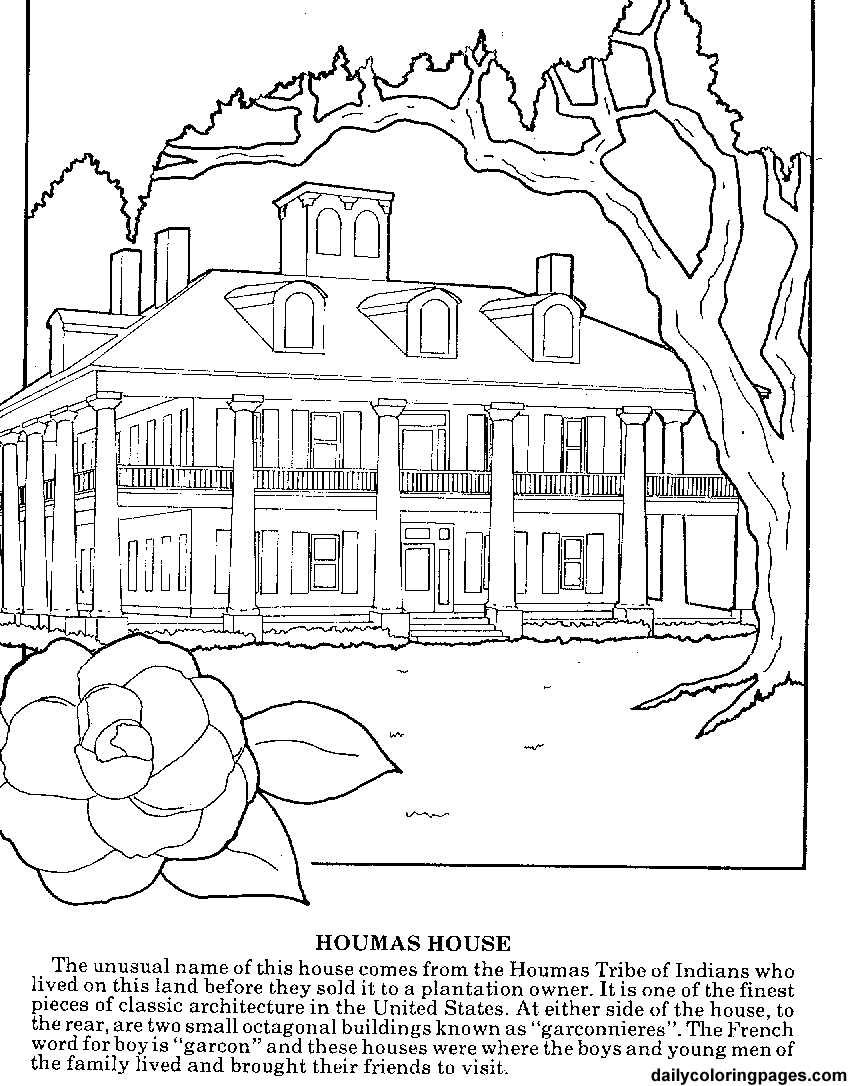 coloring pages for adults | louisiana plantations difficult coloring