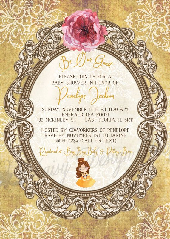 Baby Shower Invitation Princess Belle Beauty And The Beast