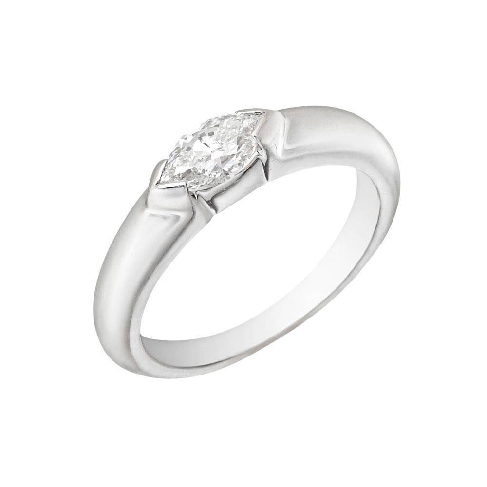 Marquise diamond setting ideas - Diamond Solitaire Ring Centering On A Marquise Shaped Diamond Weighing Carats Mounted In An East West Style Platinum Setting