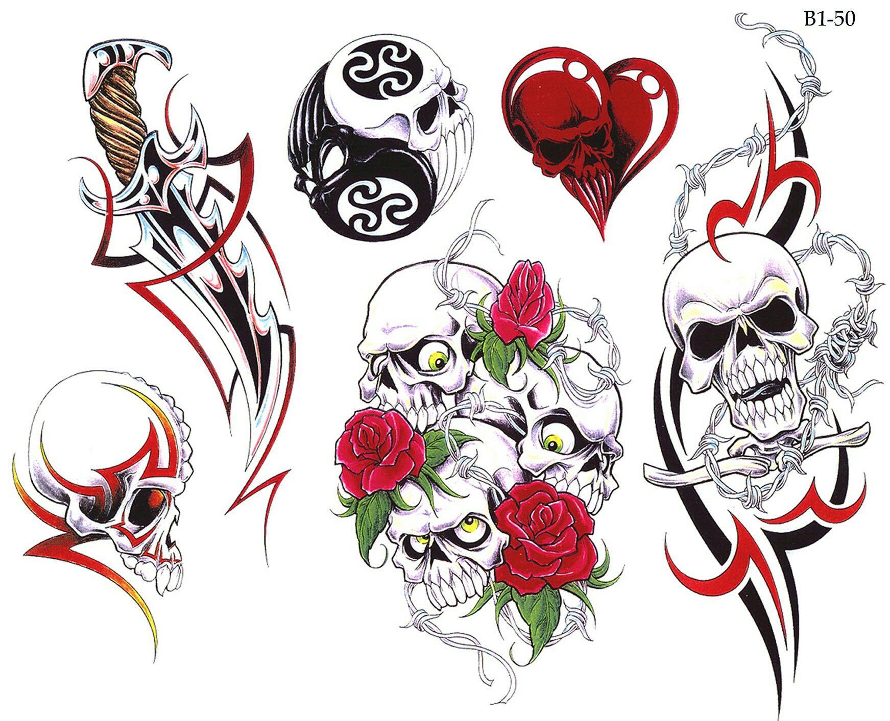 6 Sheets Wrist Body Art Henna Tattoo Stencil Flower: Tattoo Flash Sheet #tattoo #flashsheet #skulltattoo