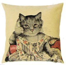 http://www.abentleycushions.co.uk/detail.asp?pID=6429 Cat Lady Ann Belgian Tapestry Cushion With Cotton Reverse. An exclusive design by Susan Herbert.