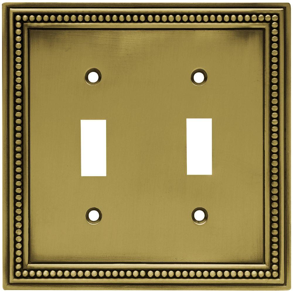 Hampton Bay Beaded Decorative Double Switch Plate Tumbled Antique Brass W10102 Abt Uh Plates On Wall Switch